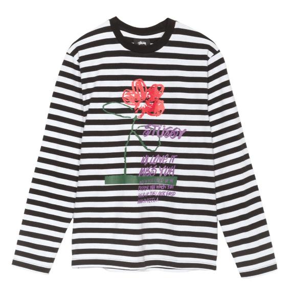 flower stripe stussy black